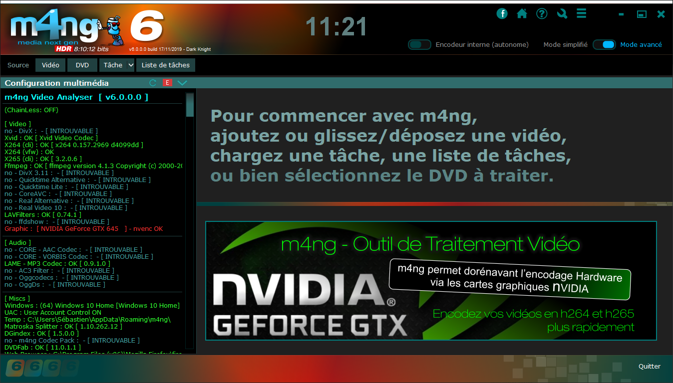 Interface principale de m4ng